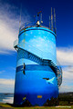 Humpback Whale Migration Mural - Woolgoolga Water Tower Hill, Mid North Coast, NSW, Australia