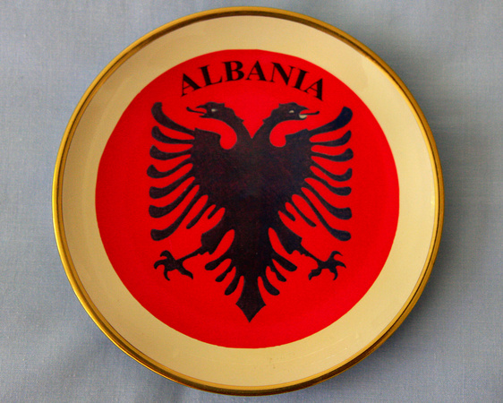 Souvenir Plate - Albanian Double Headed Eagle Symbol