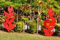 Red Sculptures, Queen Victoria's Garden, Burnt pine, Norfolk Island